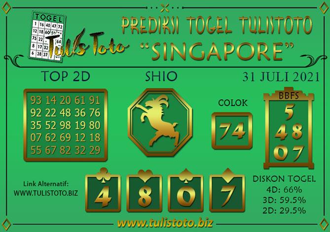 Prediksi Togel SINGAPORE TULISTOTO 31 JULI 2021