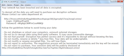 Hive ransomware ransom note
