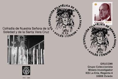 Semana Santa, exposición, Avilés, filatelia, matasellos, Cofradía, Soledad, Vera Cruz