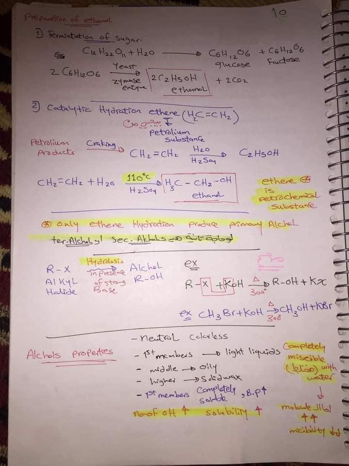 ملخص organic chemistry للثانوية العامة لغات 10