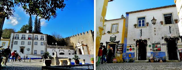 Praça de Santa Maria e uma loja de artesanato em Óbidos