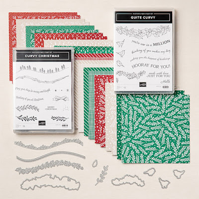 stamp sets papers and dies part of the Curvy Celebrations products
