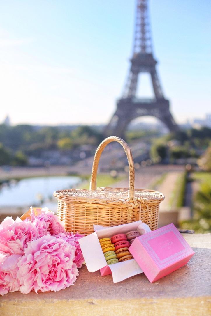 пикник у эйфелевой башни, розовые пионы , макароны ладюре