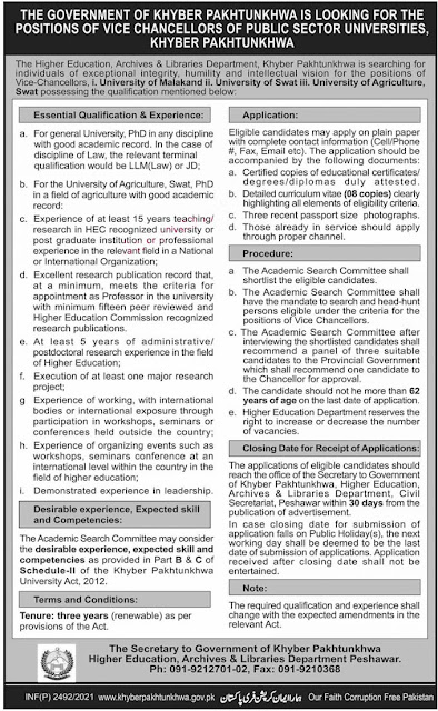 KPK Jobs 2021 Higher Education, Archive & Libraries Department