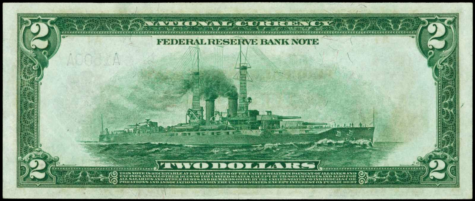 United States banknotes Battleship Two Dollars note bill