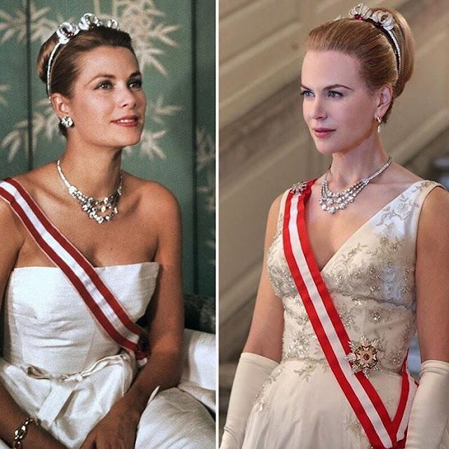 Filme Grace de Monaco, colar de Diamantes primeira foto Grace Kelly segunda foto Nicole Kidman, joia da Cartier