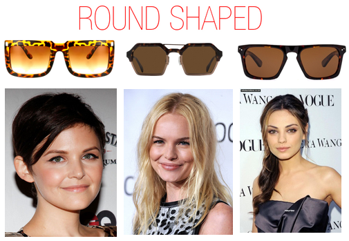 Which sunglasses to wear when you have a round shaped face - Mila Kunis, Ginnifer Goodwin