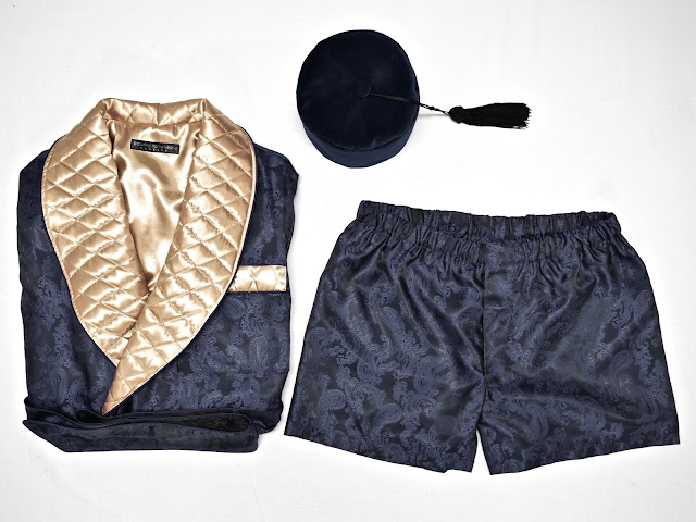 mens quilted silk dressing gown dark navy blue gold paisley robe smoking jacket smoker hat boxer shorts