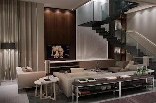 sala marrón y beige