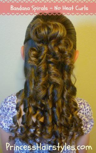 no heat curls bandana spirals hairstyles for girls princess hairstyles