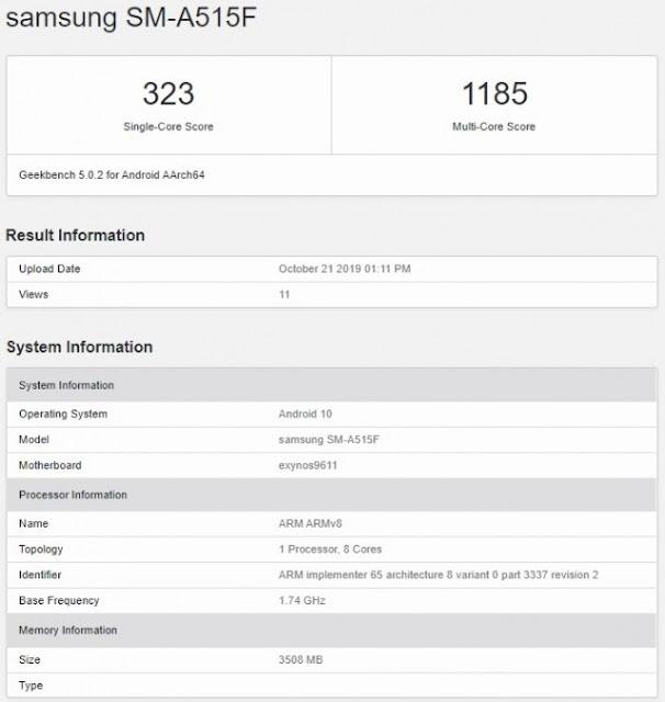 كشف مواصفات هاتف Samsung Galaxy A51 من خلال Geekbench