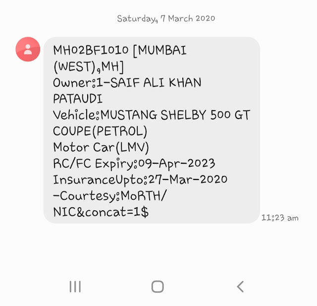Know vehicle information using SMS service