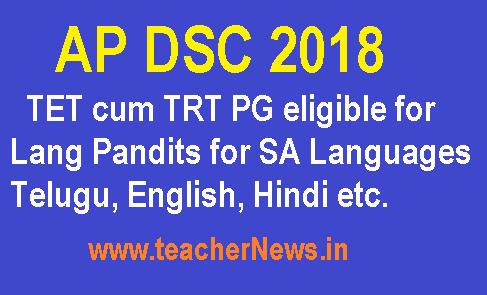 AP DSC 2018 TET cum TRT PG eligible for Lang Pandits for SA Languages