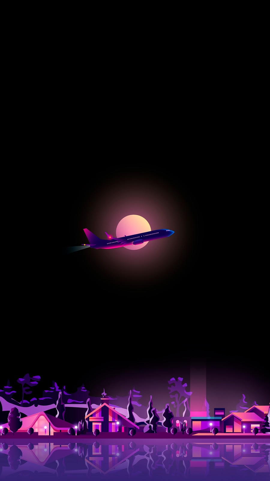 amoled wallpaper a flight above a city main color is purple in hd 1080p to use as phone wallpaper