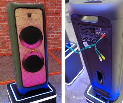 Bagian depan dan belakang JBL PartyBox 1000