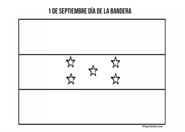 Descarga dibujos para colorear bandera  Honduras