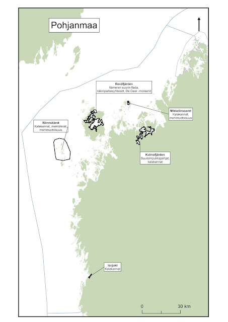 Kartta, johon on piirretty Merenkurkun ja pohjoisen Selkämeren EMMA-alueet