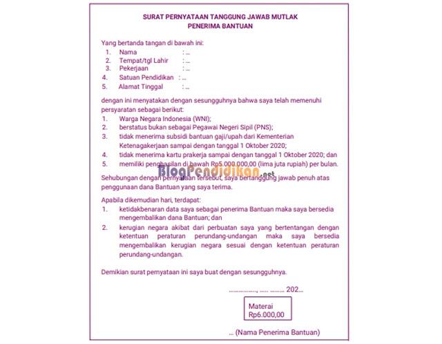 Contoh Surat Pernyataan Tanggung Jawab Mutlak (SPTJM) BSU Guru Honorer dan Tenaga Kependidikan