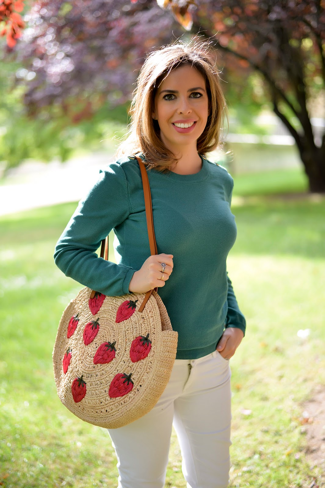 sezane basket straw raffia leather bag summer trend wicker purse tote strawberries