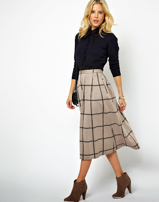 ASOS Beige Check Midi Skirt