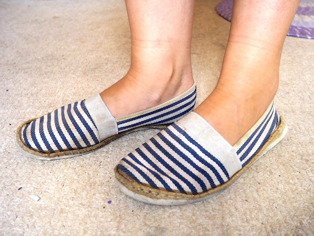 Last Days of Summer - outfit shoe details of blue and white striped slip on 'Toms'-style shoes