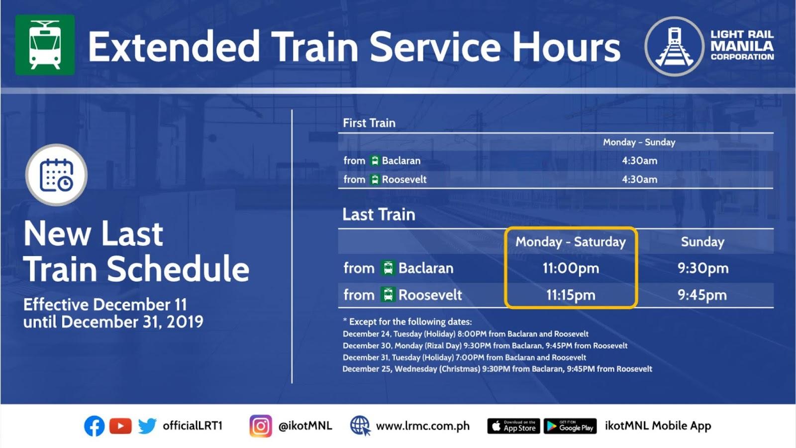 LRT-1 Holiday Schedule