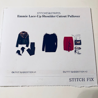 November 2017 Stitch Fix Review. Stitches&Stripes Emmie Lace-Up Shoulder Cutout Pullover | brazenandbrunette.com