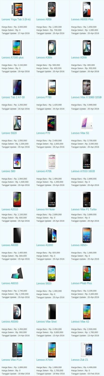 Daftar Harga Hp Terbaru Lenovo Mei 2016