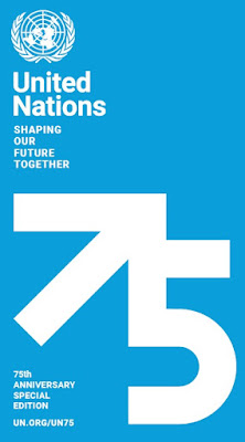 "Graphic with white ""75"" against blue background. ""United Nations: Shaping Our Future Together"" UN.org/UN75"
