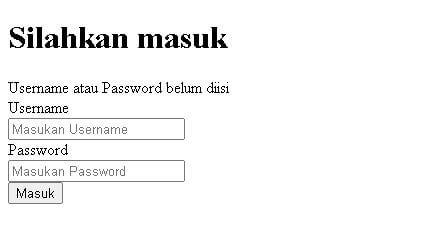 Aplikasi Pengelolaan Laundry Part 2 - Tampilan halaman login dengan pesan error karena username atau password belum diisi.