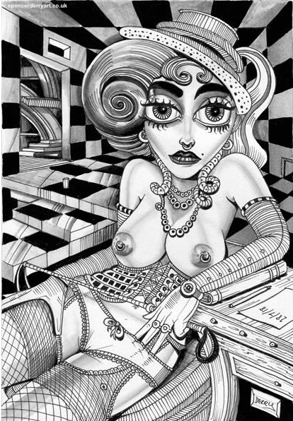 An Imaginative semi-nude drawing of a Female Dominatrix.