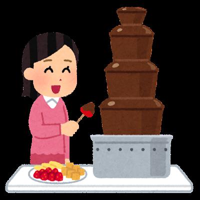 チョコレートファウンテンを楽しむ人のイラスト