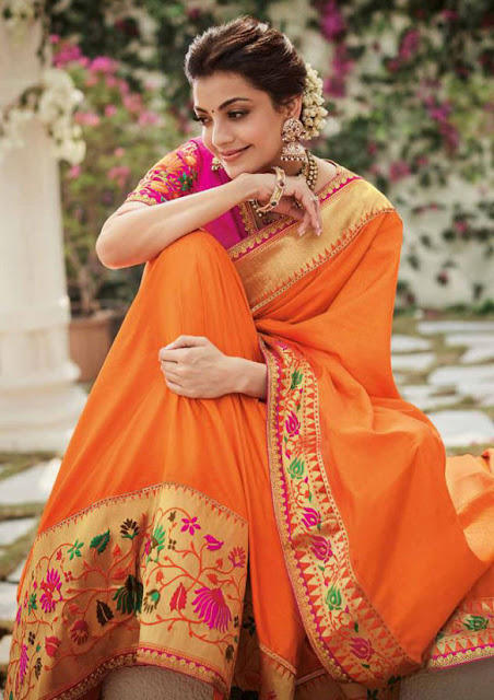 Kajal Aggarwal Latest Cute Pics in Saree Navel Queens