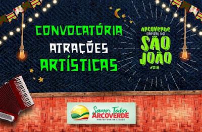 ARCOVERDE LANÇA CONVOCATÓRIA DE ARTISTAS PARA O CICLO JUNINO