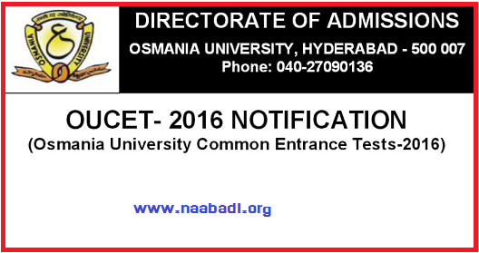 OUCET-2016 - Admission Notification(www.naabadi.org)