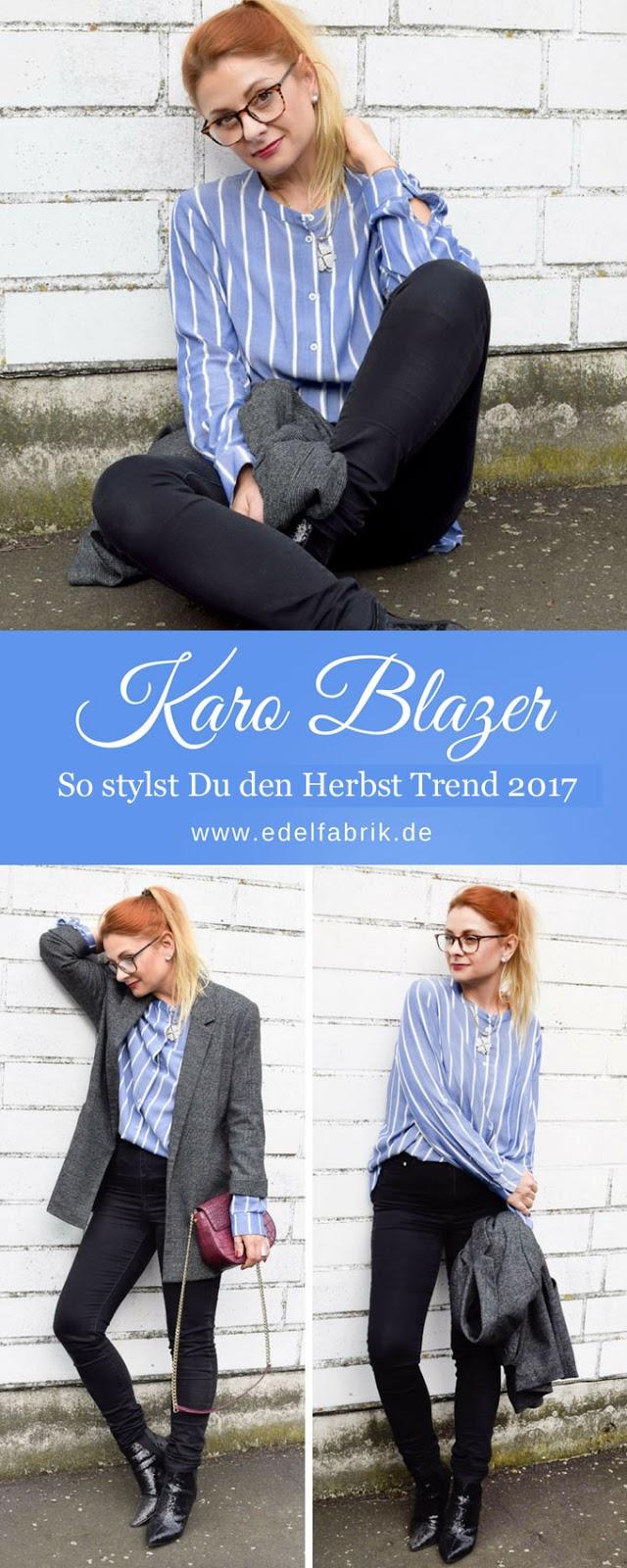 Look mit Karoblazer und Blau Weißer Bluse