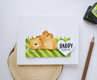 water colouring, Neat and tangled Mommy, daddy and me stamp set Zig clean colour brush pens, no line watercolouring, Neat and tangled , Card for him, card for men, CAS card, stenciling, die cutting, Quillish,