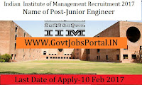Indian Institute Of Management Recruitment 2017 – Finance & Accounts Officer& Junior Engineer