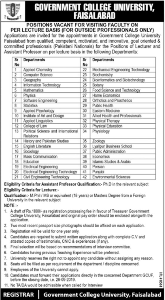 Government College University Faisalabad Job for Lecturer 2019