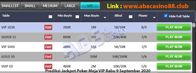 prediksi jackpok poker meja vip rabu 9 september 2020