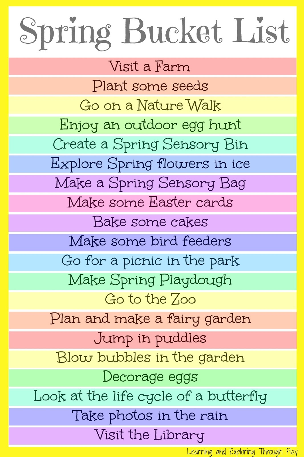 Learning And Exploring Through Play Spring Bucket List