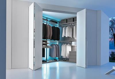 small dressing room design with modern bi-fold doors