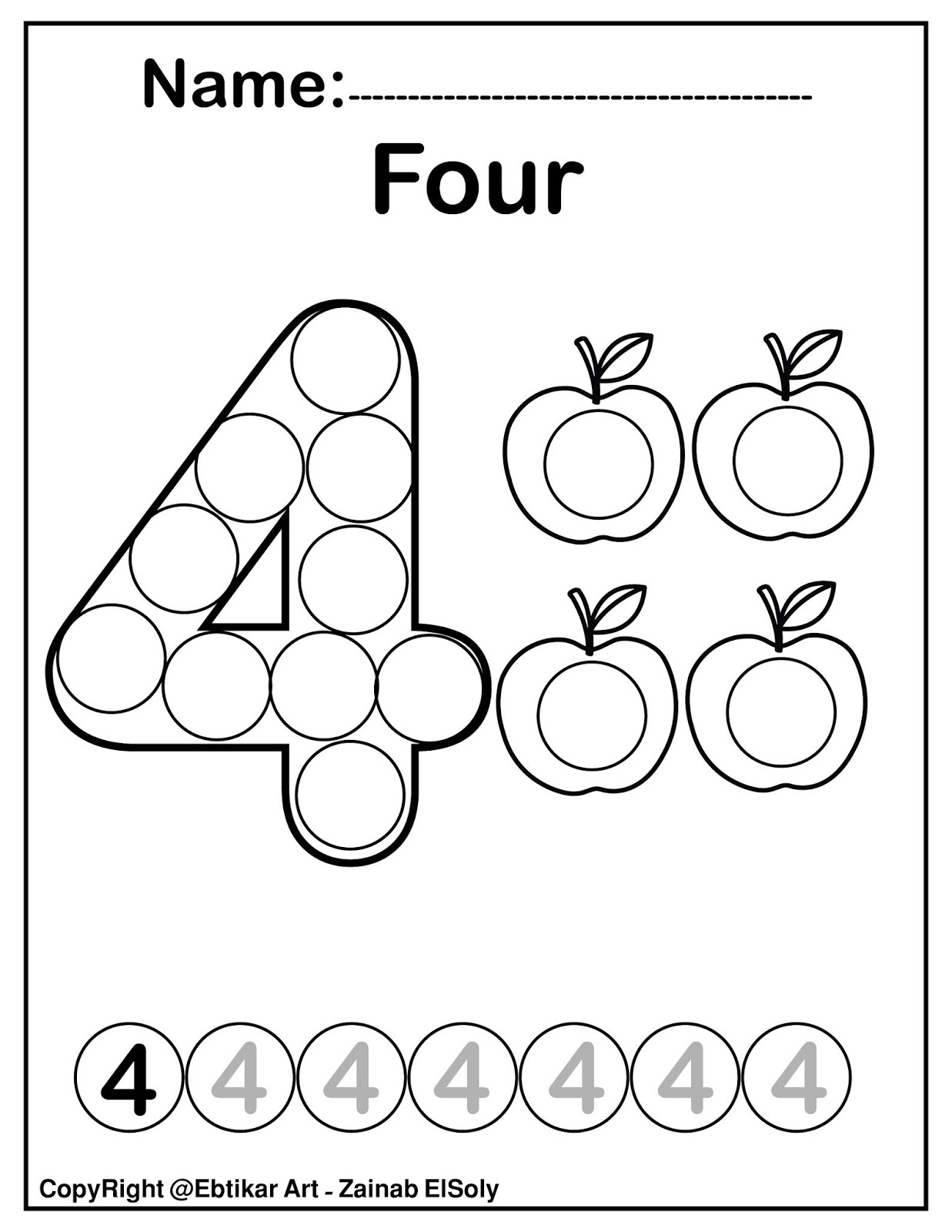 Set Of 123 Numbers Count Apples Dot Marker Activity