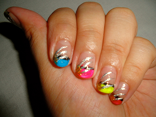 It's All About Nail Arts: Neon Colors French Tip Nail Art