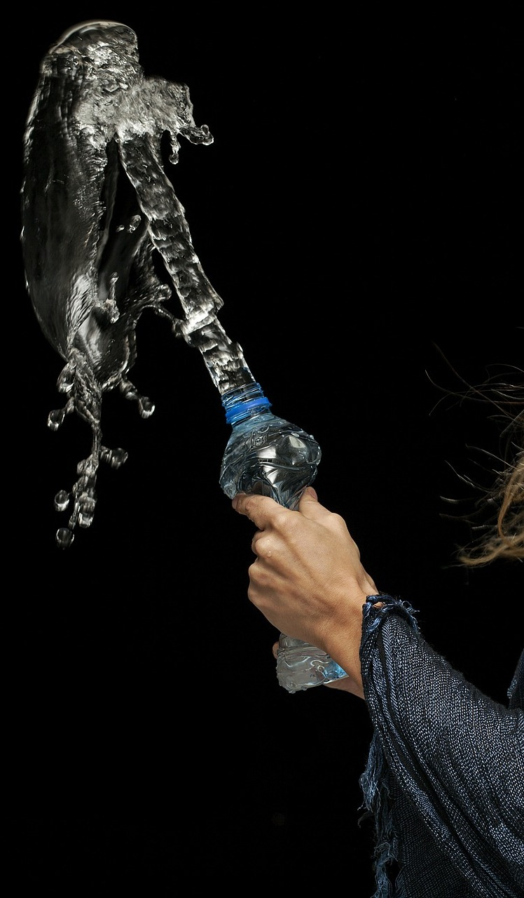 Water from a bottle.