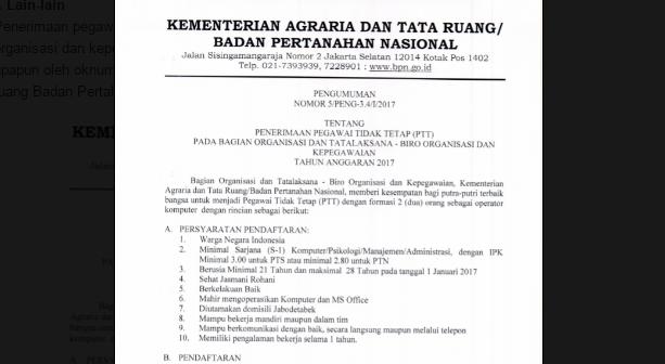 Pendaftaran PTT Kementerian Agraria 2017. Dengan Syarat..