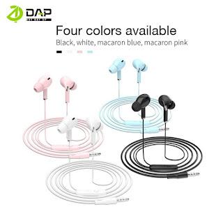 Headset Macaron DAP DH-F6 Handsfree Stereo Earbuds With Mic Colourfull - Biru
