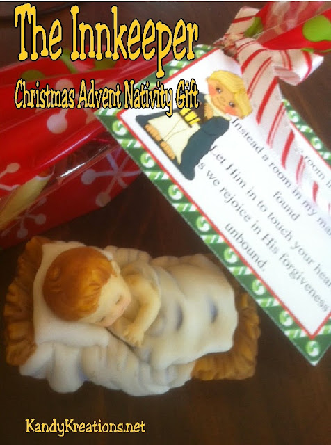Celebrate Christmas with this Nativity Advent Calendar Gift.  Day six brings the Innkeeper and his story of forgiveness and the truth of letting Christ into your life.  Print this hershey mini printable and give a sweet treat this Christmas day. #inkeeper #christmas #advent #nativity #bagtopper #diypartymomblog