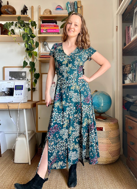 Diary of a Chain Stitcher: True Bias Shelby Dress with Lacing Back in Viscose Twill from Guthrie & Ghani