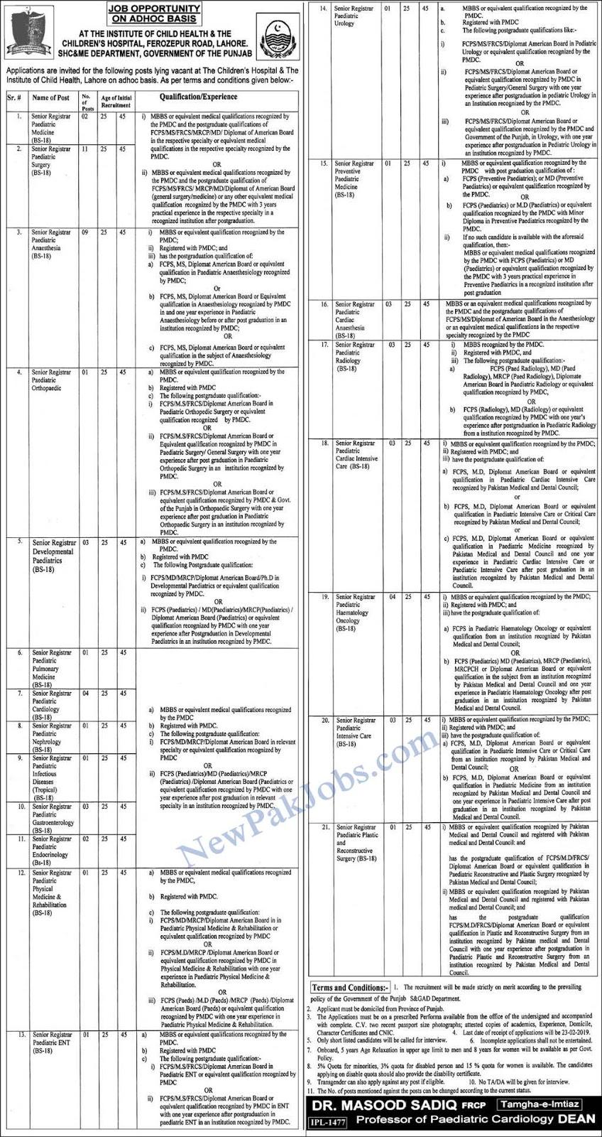 Jobs in Children's Hospital Lahore